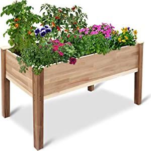 Jumbl Raised Canadian Cedar Garden Bed | Elevated Wood Planter for Growing Fresh Herbs, Vegetables, Flowers, Succulents & Other Plants at Home | Great for Outdoor Patio, Deck, Balcony | 49x23x30