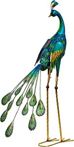 TERESA'S COLLECTIONS 35 inch Metal Peacock Garden Statues Decor, Peacock Solar Lights Garden Art Sculptures Standing with Stake for Outdoor Patio Yard Decorations