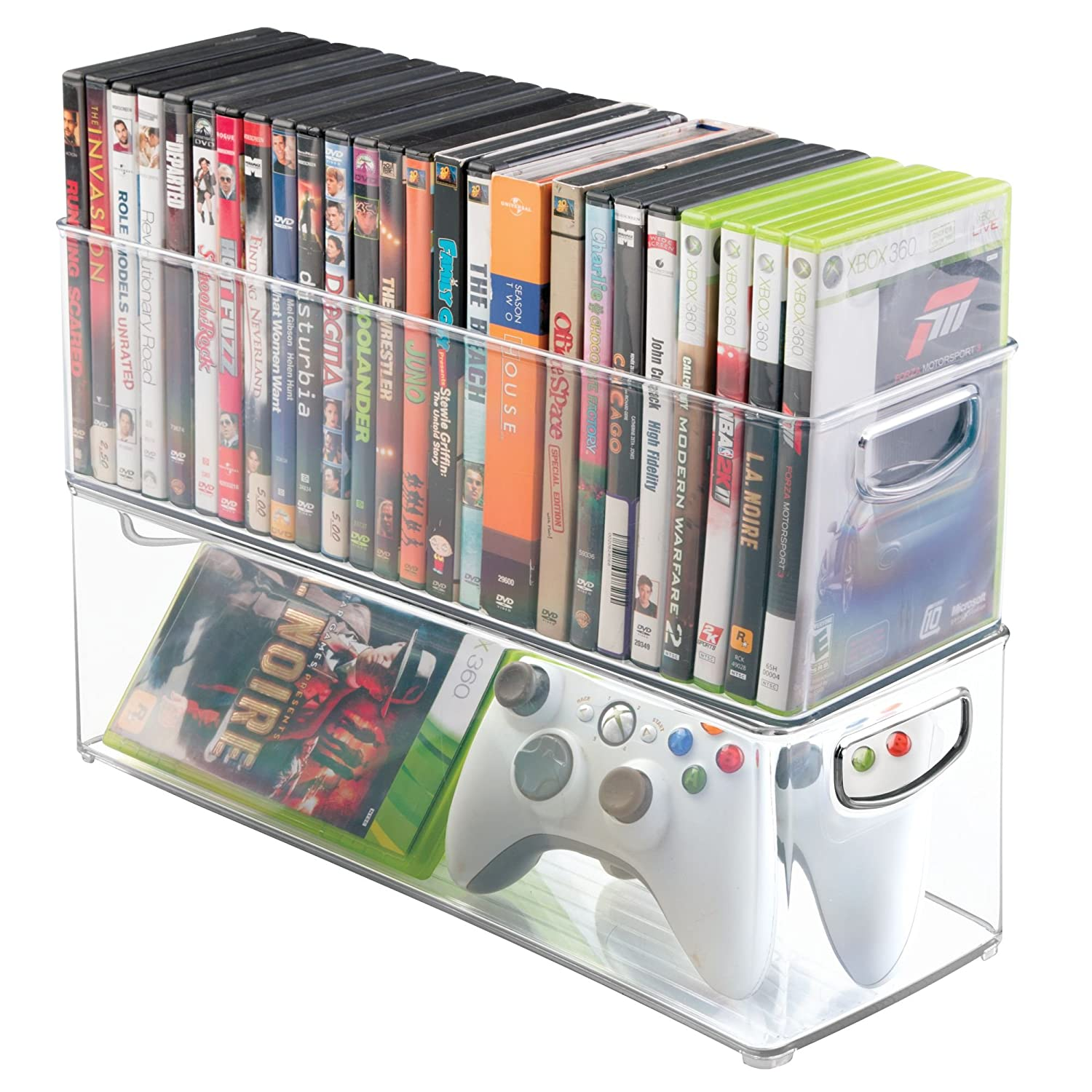 Amazon mDesign Household Storage Bin for DVDs PS4 and Xbox