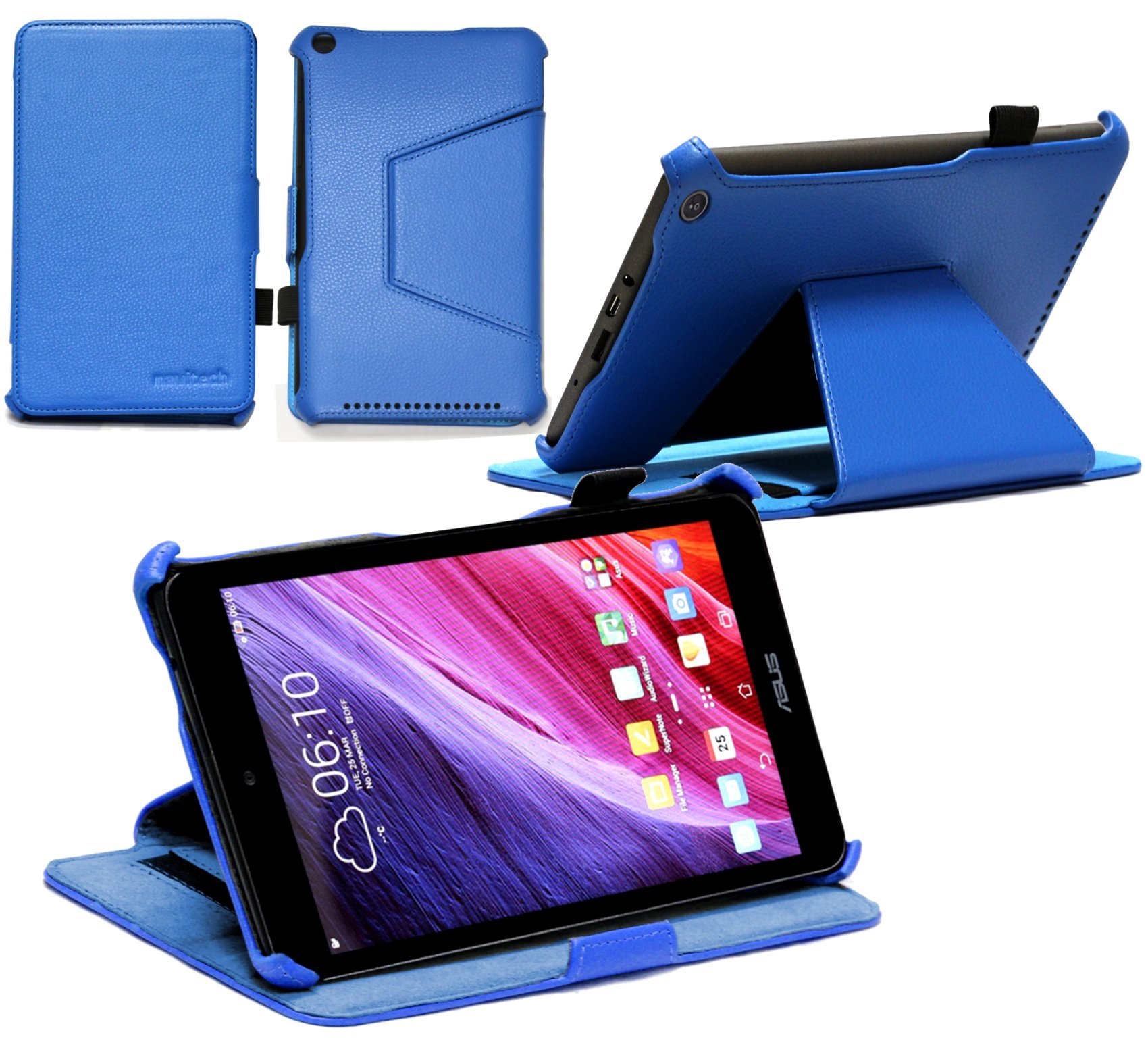 Navitech ASUS MeMO Pad 8 (ME181C) Blue Leather Multi Stand Case / Cover With Sleep & Wake Function