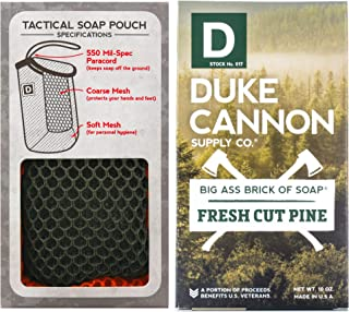 product image for Duke Cannon Supply Co. - Mens Soap On A Rope Tactical Scrubber Soap Bundle (2 Piece Set) Includes Tactical Body Scrubber and Big Ass Bar of Soap Fresh Cut Pine Bar Soap