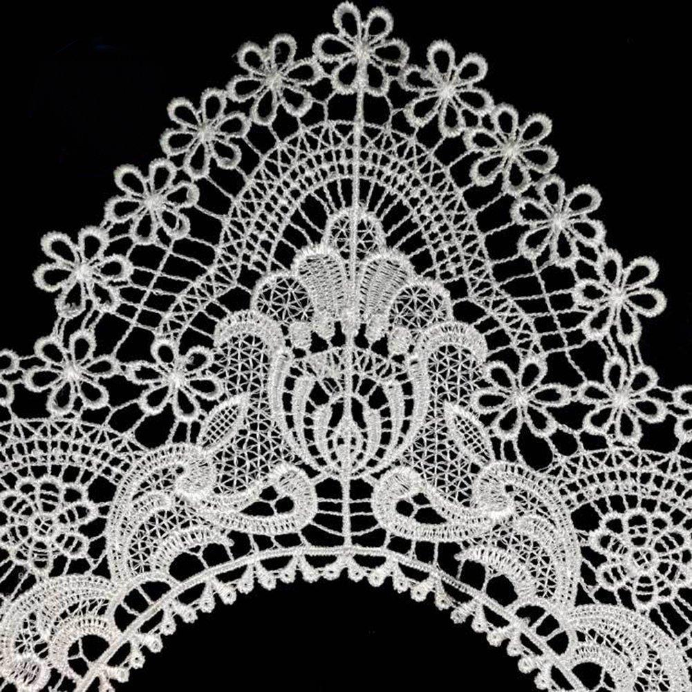 para costura Collar de encaje hueco para vestido de novia con bordado en el cuello color blanco y lyhhai