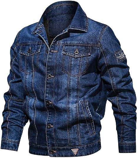 Mens Pockets Windbreaker Outdoor Slim Classic Button Down Denim Jacket Coat