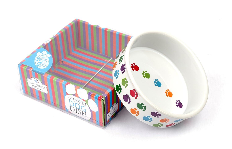 Pet Brands Dog Paw Prints Ceramic Dish XL 8