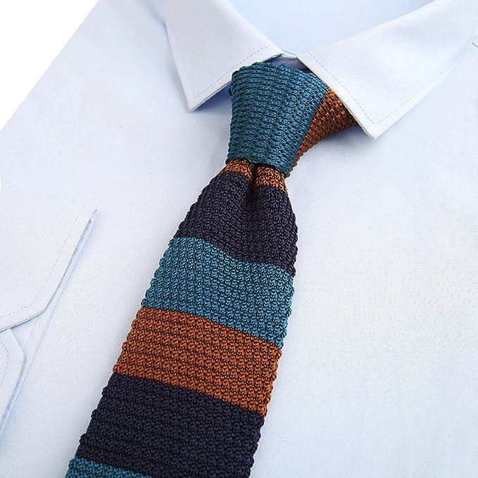 Alizeal Rayas Horizontales –Corbata de Punto para Hombre Marino+ ...