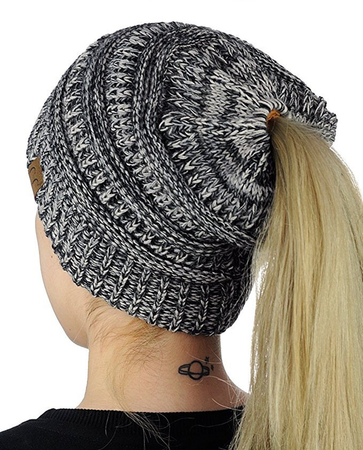 Womens Beanie Tail Ponytail Winter Warm Stretch Cable Messy High Bun Knit Hat FIST BUMP Dept