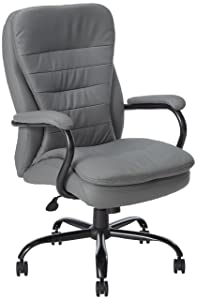 Boss Office Products B991-GY Heavy Duty Double Plush LeatherPlus Chair with 350lbs Weight Capacity in Grey