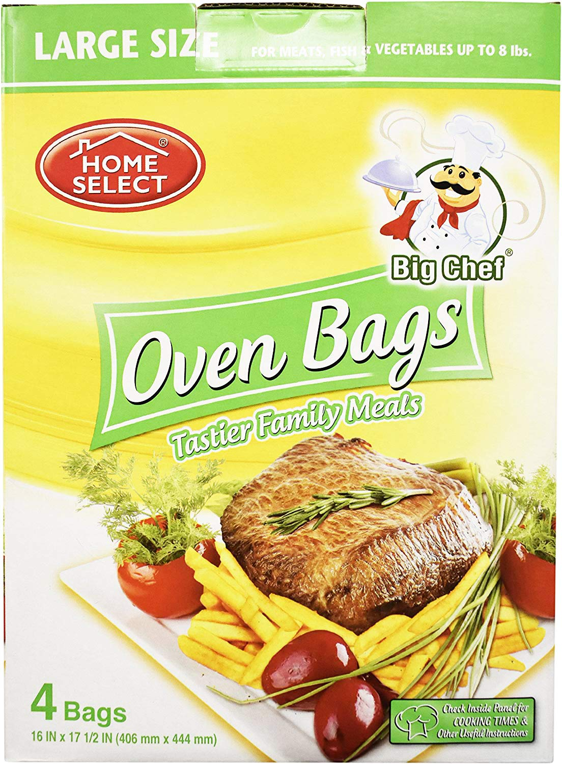 Home Select Oven Bags Large Size (16 Inch x 17.5 Inch) 4 Bags; for Meats, Fish & Vegetables up to 8 lbs