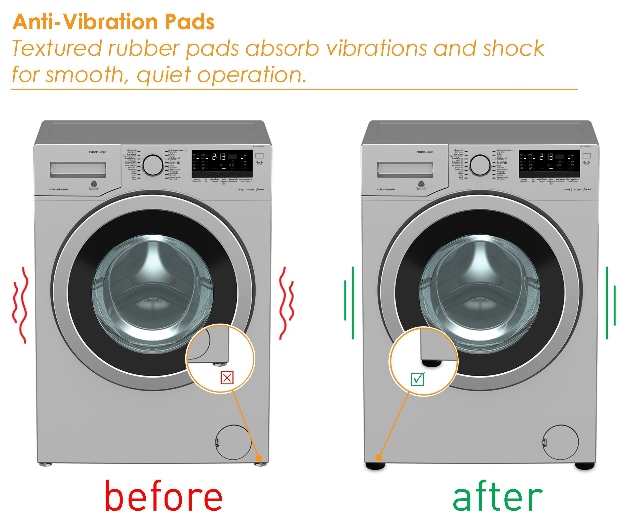 Anti-Vibration Pads For Washing Machines and Clothes Dryers - Anti-Walk Washer Vibration Pads - Noise Reducing, Shock Absorbing, Vibration Isolating Pads - No Shake Pads by No Shake Pads (Image #5)
