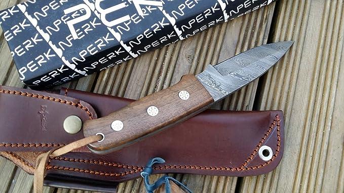 Amazon.com: Acero de Damasco cuchillo de caza Full Tang con ...