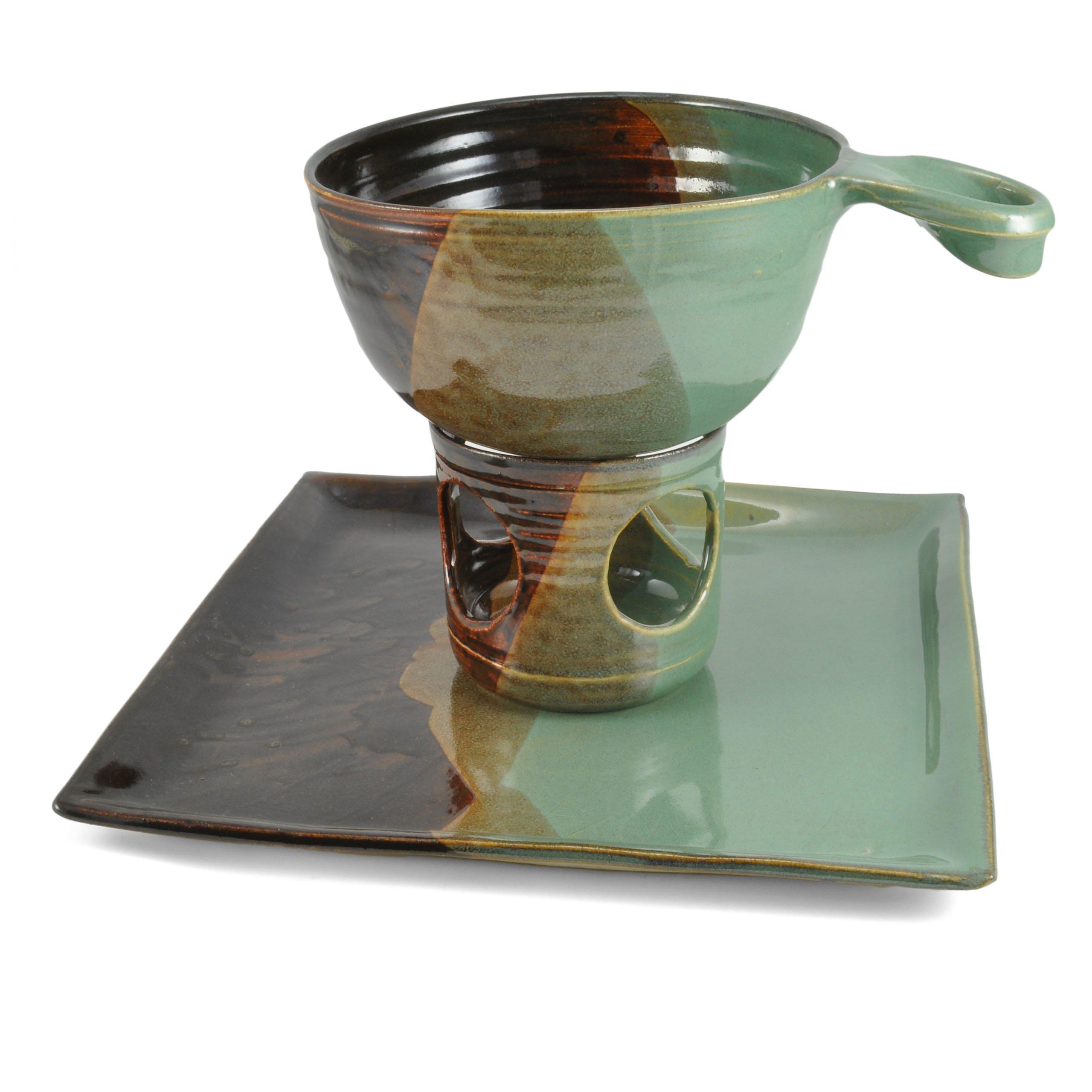 Holman Pottery Handmade Ceramic 3-piece Fondue Set, Green Earth