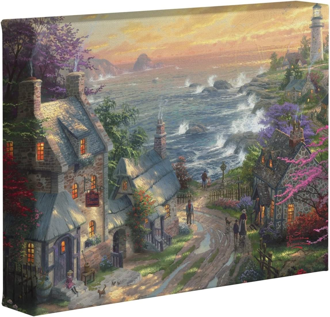Thomas Kinkade The Village Lighthouse 8 X 10 Gallery Wrapped Canvas