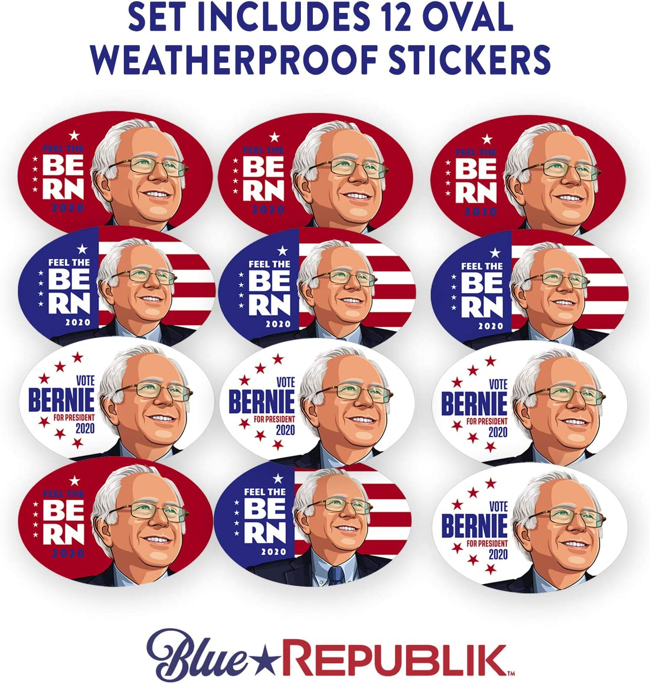 Made in USA Car Truck Vinyl Decal Election Political Presidential Bernie 2020 Bumper Sticker Large 3.5 x 10 with Bonus USA Flag Sticker UV Coated Qty of 2
