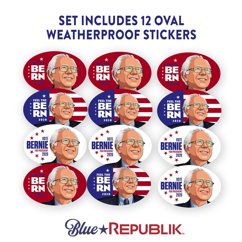 Bernie 2020 Election BlueRepublik Bernie 2020 Bumper Sticker Bernie Sanders Stickers 6 Pack- 4 x 6 Ovals Professionally Printed in USA with Weather Resistant UV Inks.