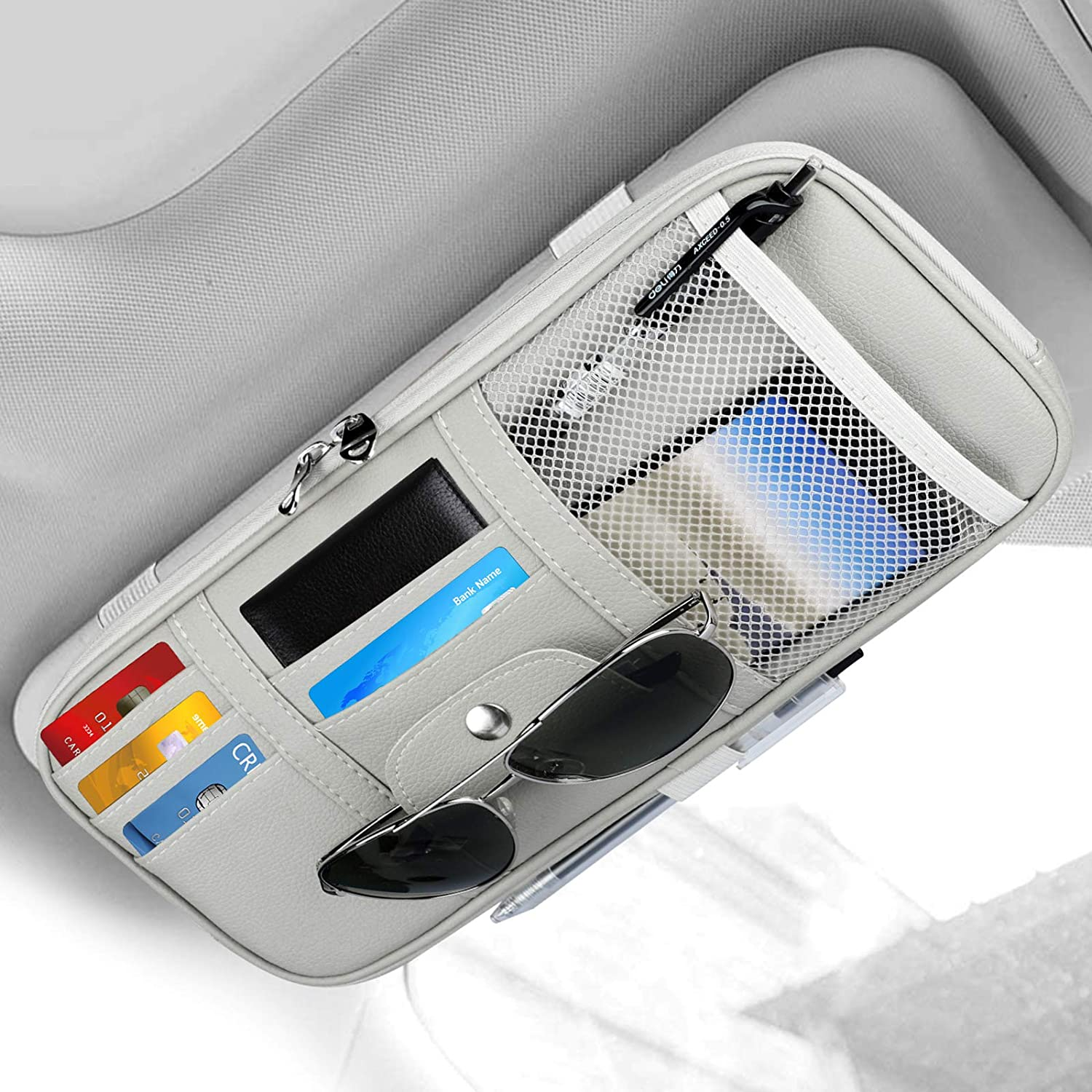 Beige Auto Car Interior Leather Accessories Storage Pocket Sun Visor Pouch Case Bag for Card License Registration Pen Mobile Phone Bill Note Key Document Car Sun Visor Organizer