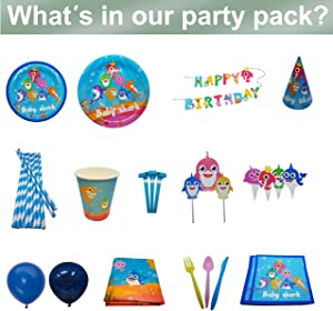 DBRANCO Baby Shark Party Supplies Set – Ocean Pool Party Decorations for Kids Birthday includes Plates Cups Straws Tablecloth Knives Spoons Forks Napkins Balloons Hats Blowouts Serves 10 Guests 133 PCS