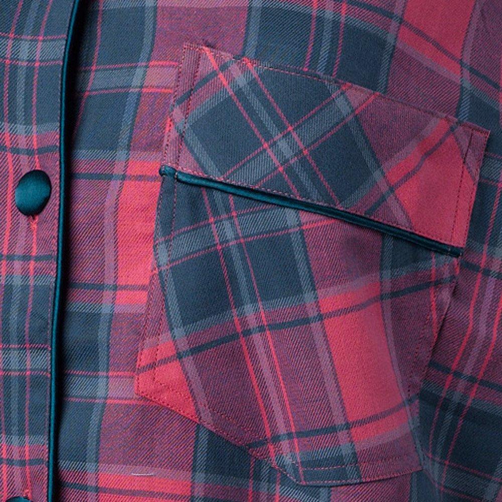 Ladies 100% Combed Cotton Tartan Nightshirt Button Up Strawberry Check  Satin Trim Nightie (S - XL) at Amazon Women s Clothing store  818baa461