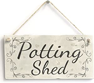 """Meijiafei Potting Shed- French Country Decor Sign/Plaque Gardening Gift 10""""x5"""""""
