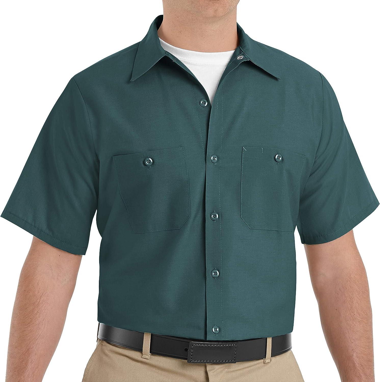 Red Kap Men's Size Industrial Work Shirt, Regular Fit, Short Sleeve, Spruce Green, X-Large/Tall
