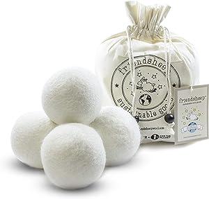 Wool Dryer Balls by Friendsheep 4 Pack XL Organic Premium Reusable Cruelty Free Handmade Fair Trade No Lint Fabric Softener White