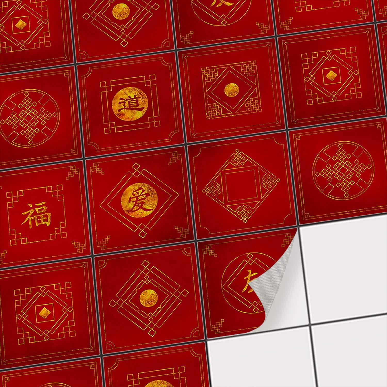 Sticker Carrelage adhé sif Mural - Autocollant Stickers - Carreaux de Ciment Cuisine et Salle de Bain | Revê tement Mural adhé sif - Stickers carrelage | Tuiles Chinois - 10x10 cm - 9 piè ces creatisto GmbH