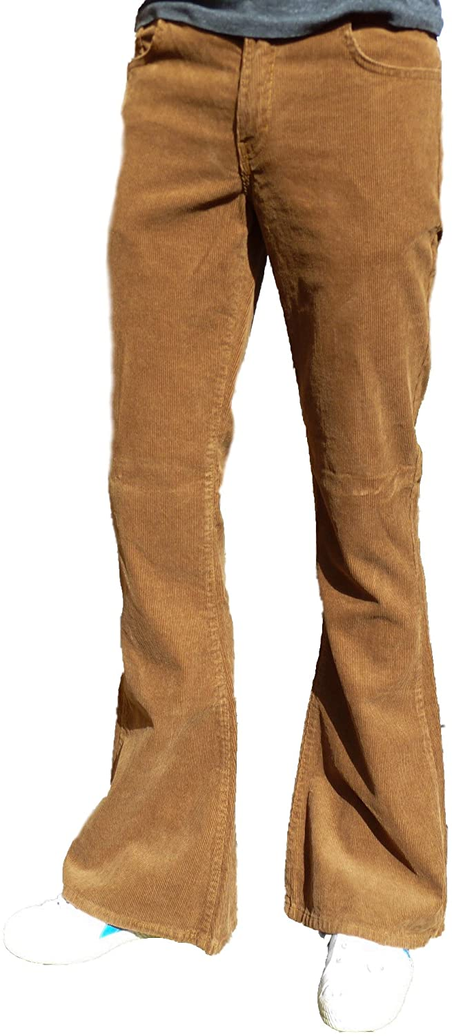 Men's Vintage Pants, Trousers, Jeans, Overalls Flares Bell Bottoms Trousers Corduroy Hippy mod Indie Jeans Retro Flared Pants Tan Brown £35.90 AT vintagedancer.com