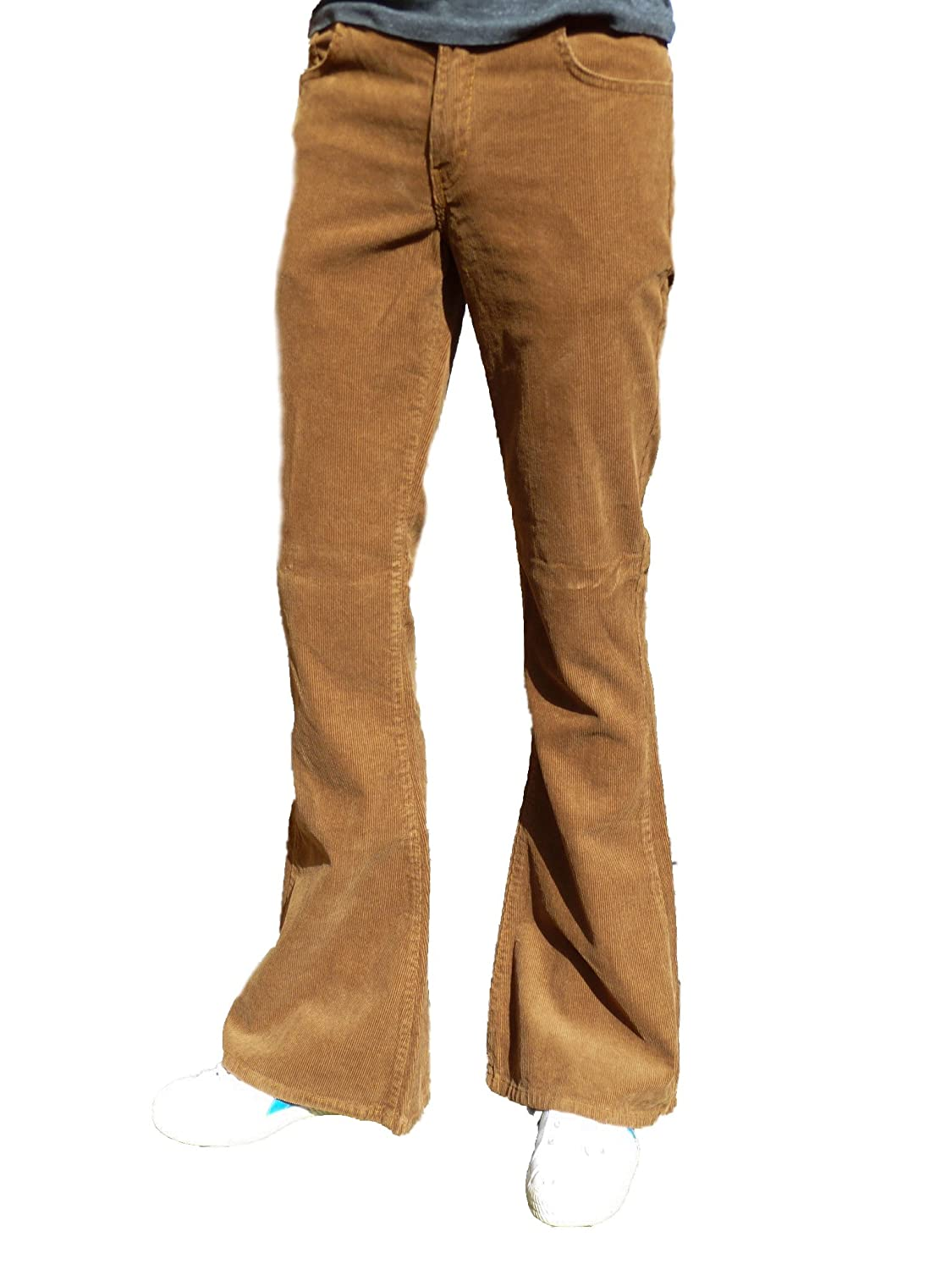 1960s Men's Clothing, 70s Men's Fashion Fuzzdandy Mens Bell Bottoms Flares Pants Tan Tobacco Brown Ginger Corduroy Retro $50.60 AT vintagedancer.com