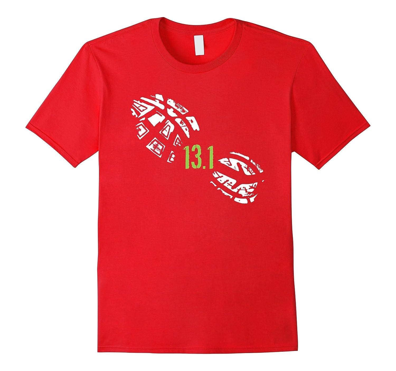 13 1 miles running shoe print half marathon runner t shirt for Marathon t shirt printing
