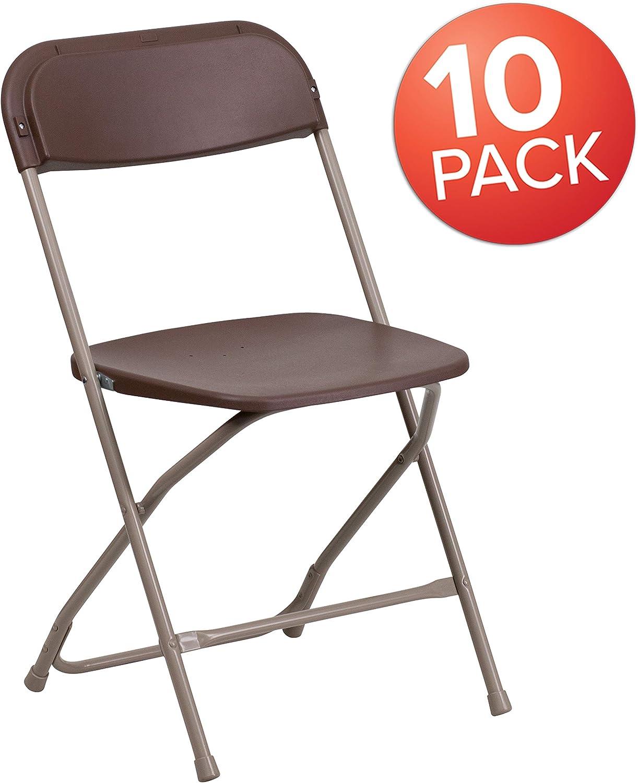 Flash Furniture 10 Pk. HERCULES Series 650 lb. Capacity Premium Brown Plastic Folding Chair