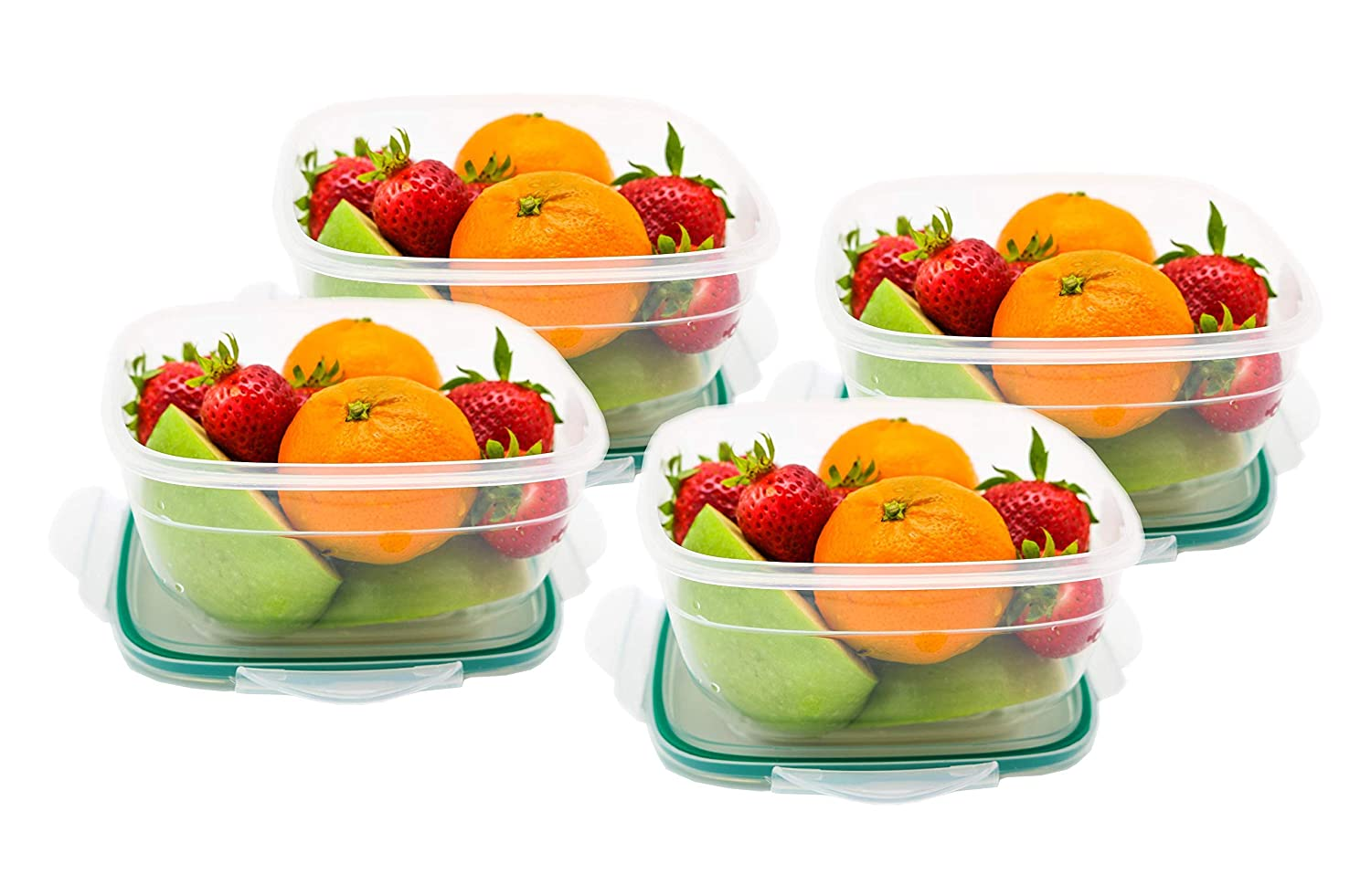 1b281666b5b2 PlastArt Fresh Box Square Set, Multi Piece Food Storage Container Set,  4-cup, 4 Pack, Clear