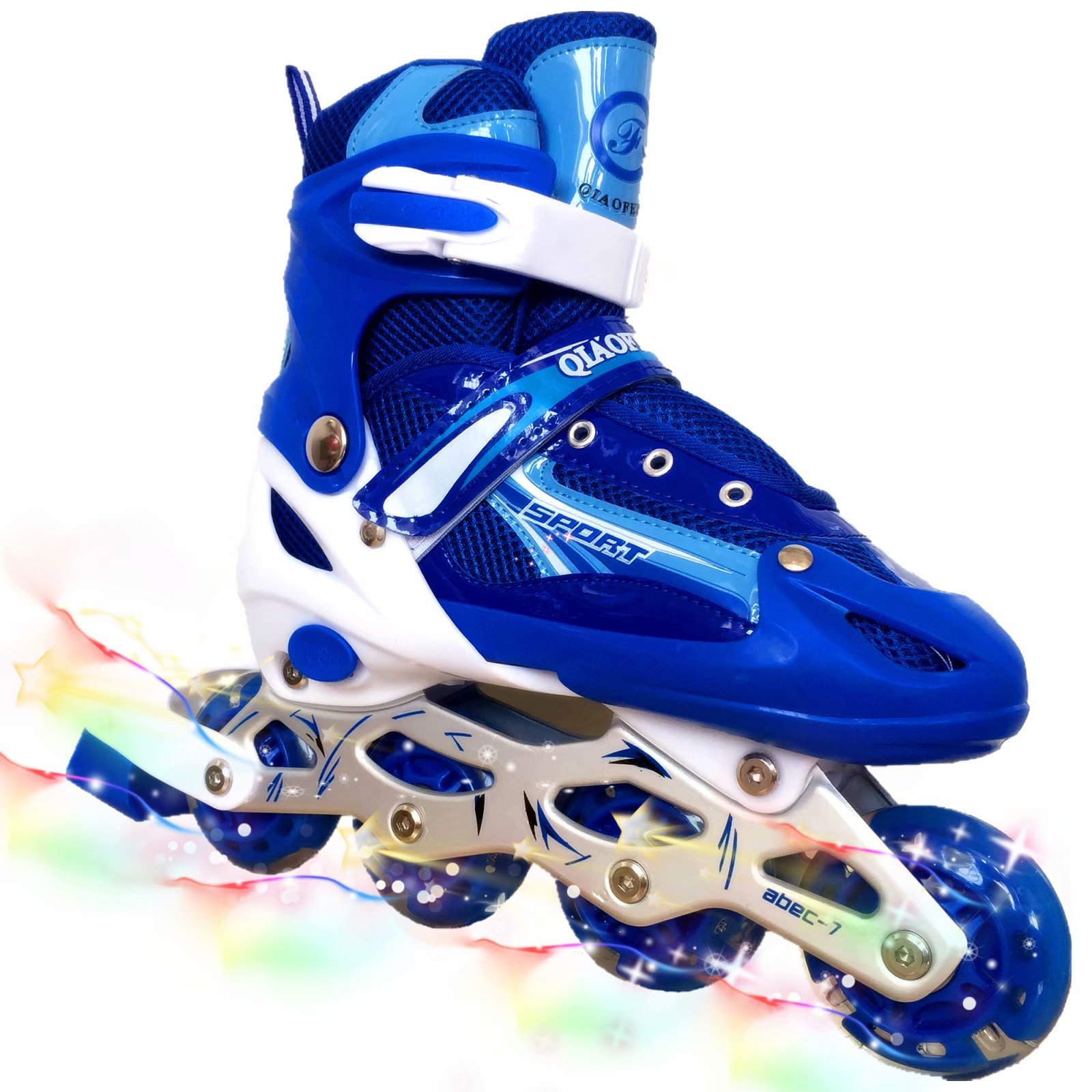 you-beat-you-land Children Adjustable Inline Skates Kids Rollerblades For Boys And Girls With Light Up Wheel-Blue M by you-beat-you-land