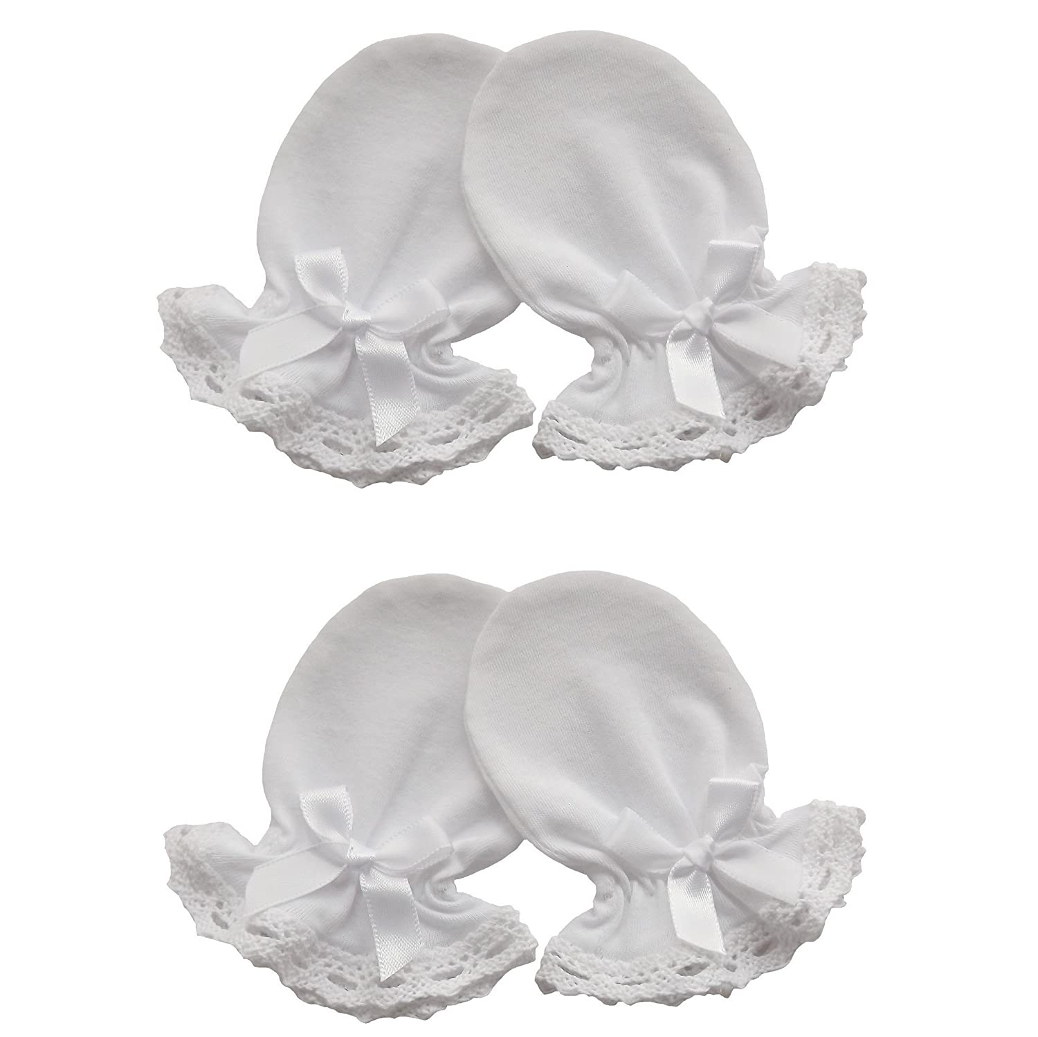 2 Pairs Cotton Jersey Newborn Baby Anti Scratch Mittens Christening Cotton Lace Color White