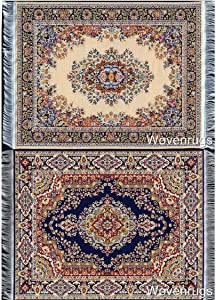 "Inusitus Set of 2 Dollhouse Carpets | Miniature Dolls House Rugs | 10x7 | Toy Furniture | 1"" Scale (Set-2-6)"