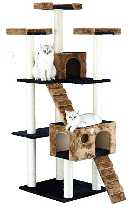 Charmant Go Pet Club 72u0026quot; Cat Tree Condo Furniture Brown/Black Color