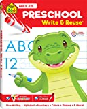 School Zone - Preschool Write & Reuse Workbook - Ages 3 to 5, Spiral Bound, Write-On Learning, Wipe Clean, Includes Dry Erase Marker, Pre-Writing, Alphabet, Numbers 1-20, Colors, Shapes, and More