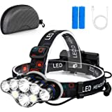 Foxdott Rechargeable Headlamp, 8 LED Headlamp Flashlight with White Red Lights,8 Modes USB Rechargeable Waterproof Head Lamp