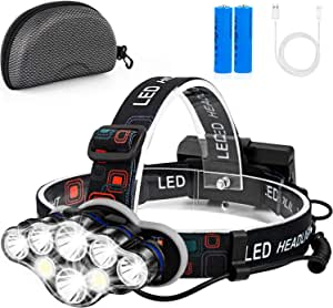 Rechargeable Headlamp, Foxdott 8 LED Headlamp Flashlight with White Red Lights,8 Modes USB Rechargeable Waterproof Head Lamp for Outdoor Camping Cycling Running Fishing (8Led-with case)