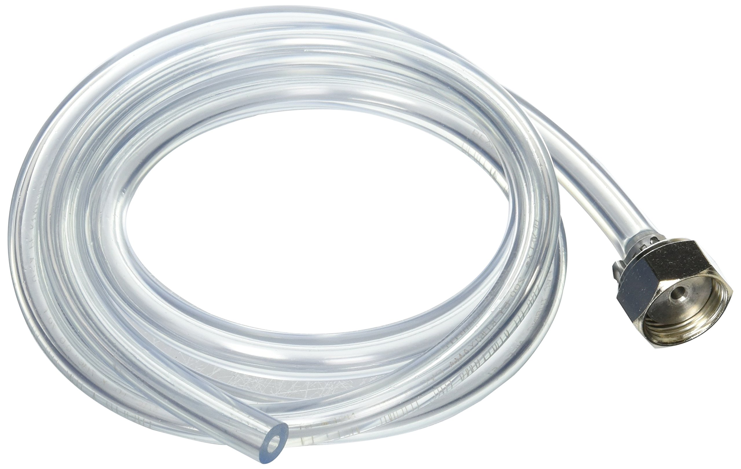 Bev Rite Beer Line with Stainless Steel Hex nut Connection (304 Grade SS), 3/16'' ID, 5' Clear Hose by Bev Rite