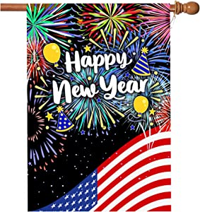 New Years Flag,Happy New Year Garden Flag 28 x 40 Inch Double Sided Happy New Year House Flag for New Year Greettings or Decoration with 2 Grommets