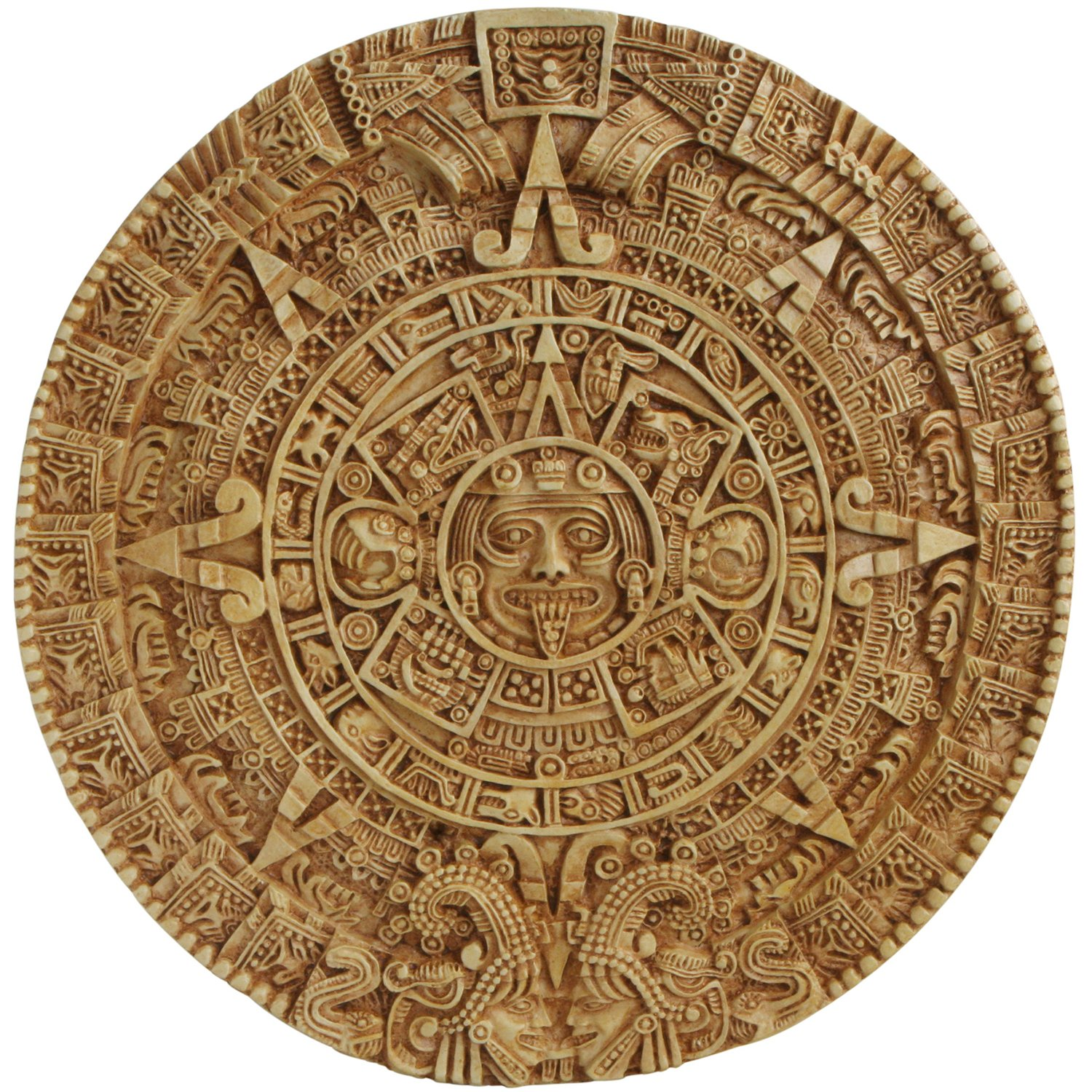 Culture Spot Aztec Solar Calendar Wall Art Relief with Stone Finish | Wall Hanging | wall sculpture | Indoor Placement | Ready to Hang | 17 Inches Diameter by Culture Spot