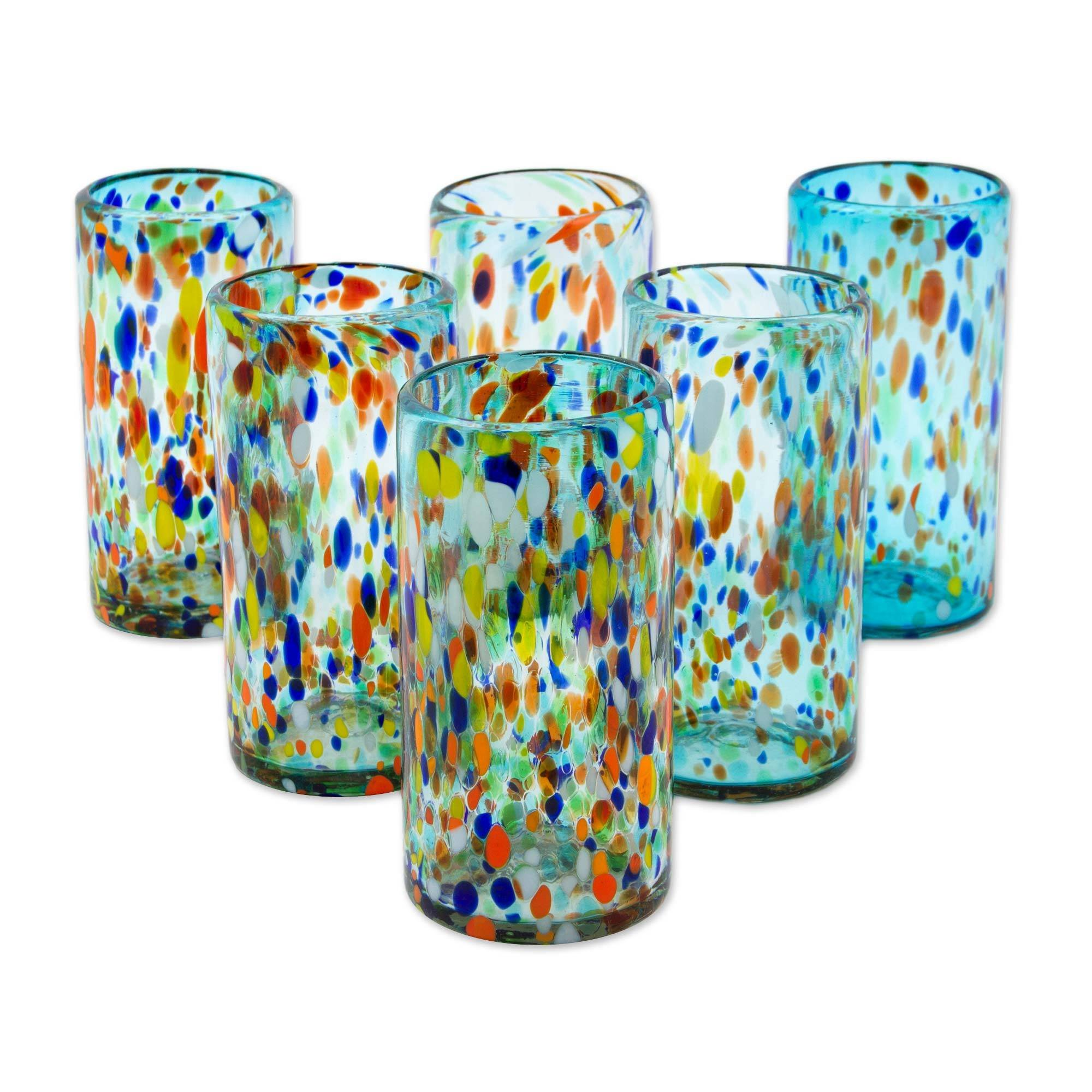 NOVICA Multicolor Eco-Friendly Hand Blown Glass Tumblers, 16 oz, Sky Rainbow Raindrops' (set of 6)