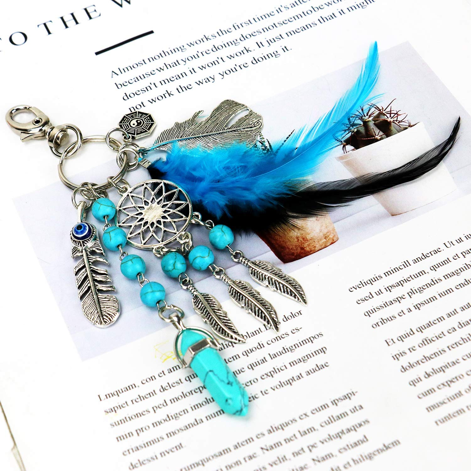 Buorsa Natural Opal Stone Dreamcatcher Keyring Feather Keychain Dream Catcher Keyring for Women Purse Pendant Handbag Keyholder Bag Charm