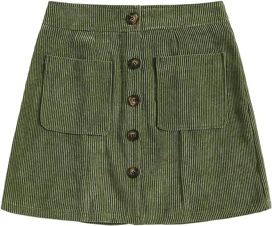 WDIRARA Womens Corduroy A-line Slim fit Mid Waist Button Boydon Mini Skirt