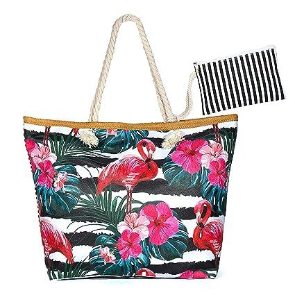 Jolintek Bolsa de Playa Grande Bolsa de Playa de Lona Bolsos de Mano Shopper Bolsa de Playa Bolsas de Viaje con Cremallera para Mujeres y Niñas (01)