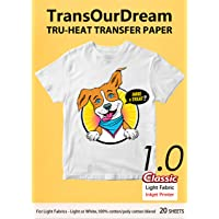 """TransOurDream Iron on Heat Transfer Paper for Light Fabric (20 Sheets, 8.5x11"""") Iron-on Transfers Paper for White and…"""