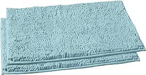 LuxUrux Bathroom Rug Mat Set–Extra-Soft Plush Bath mat Shower Bathroom Rugs 16 x 24 inch Set,1'' Chenille Microfiber Material, Super Absorbent. (Rectangular Mini Set, Spa Blue)
