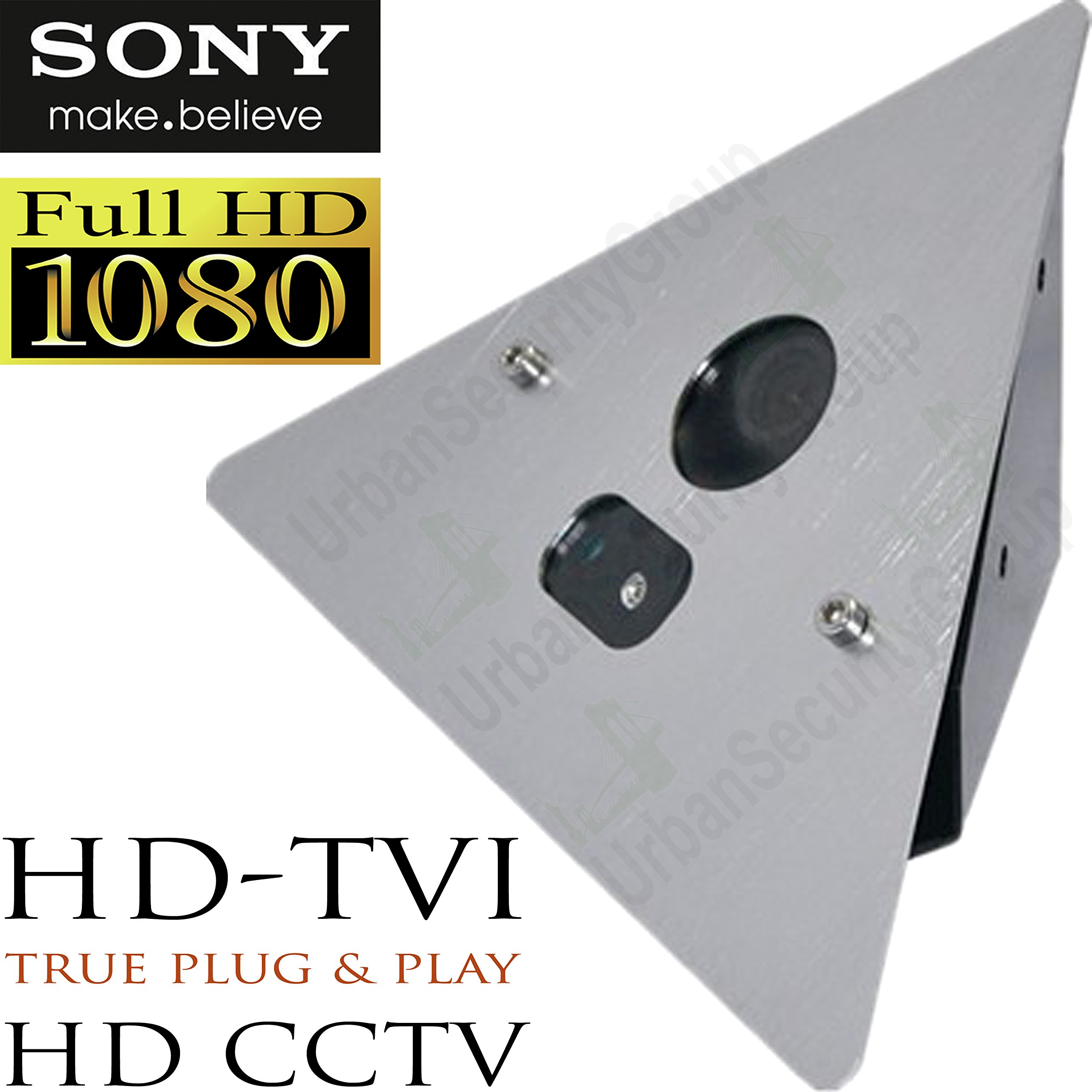 USG Corner Elevator Security Camera : HD-TVI 1080P @ 30FPS 2MP : Aluminum Metal Housing : 1x 42mil IR LED, 3.6mm Wide Angle Lens, Sony IMX323 DSP, WDR, Zoom : Business Grade