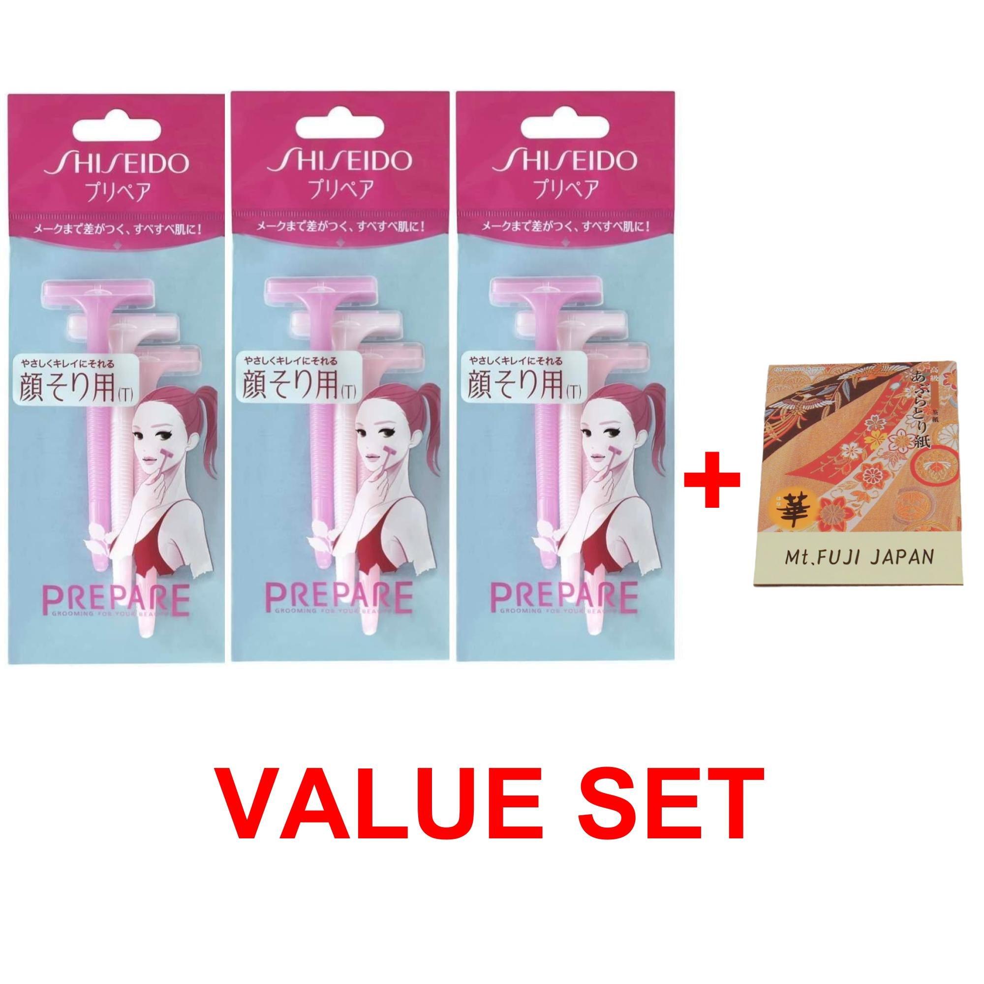 Shiseido Facial Razor T-Shaped 3pcs x 3 Pack (total 9 pcs) with Premium Oil Blotting Paper Value Set