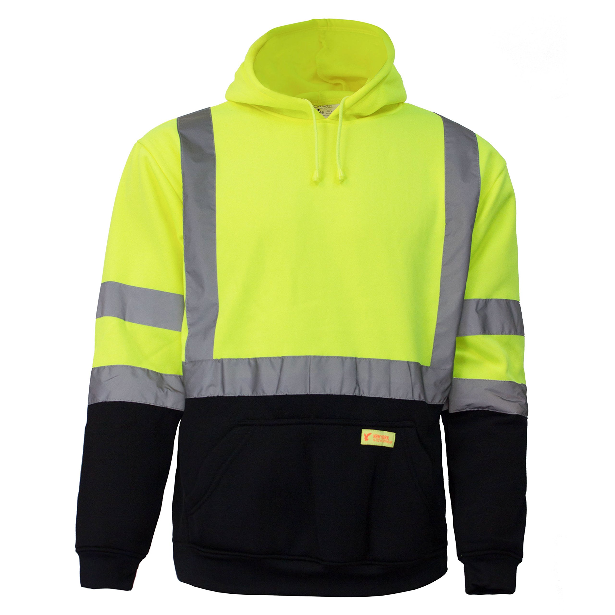 New York Hi-Viz Workwear H8312 Men's ANSI Class 3 High Visibility Class 3 Sweatshirt, Hooded Pullover, Knit Lining, Black Bottom (Lime, Large) by New York Hi-Viz Workwear (Image #2)