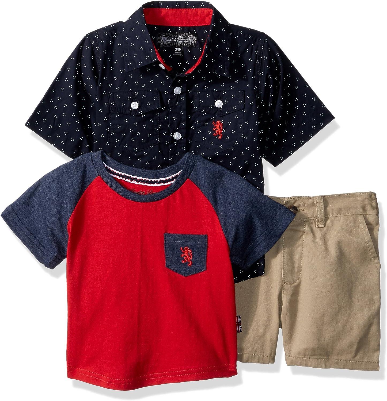 English Laundry Baby Boys Dotted Print Sport Shirt, Pocket Tee and Khaki Short
